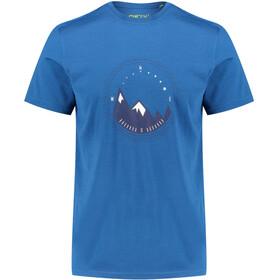Meru Tumba Camiseta Lana Manga Corta Hombre, blue saphire